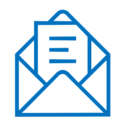 Graphic icon of an open envelope with mail letter in it