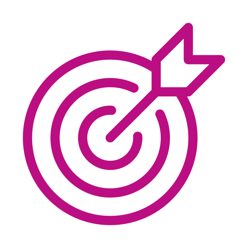 Icon of dartboard with arrow in bull's eye-fuchsia color