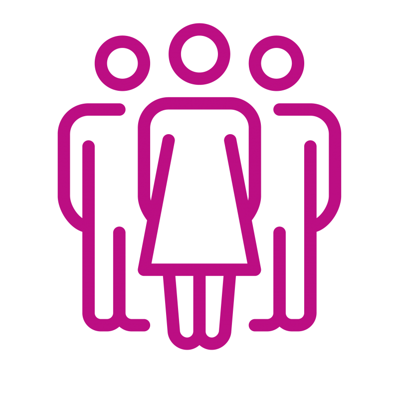 Icon of one woman and two men in fuchsia