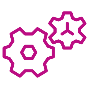 Icon of two gears in bright purple/pink